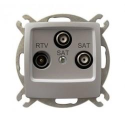KARO Gniazdo RTV-SAT z dwoma wyjściami SAT, bez ramki, kolor srebrny perłowy GPA-S2S/m/43