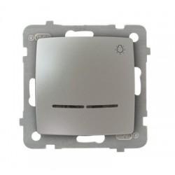 KARO Łącznik zwierny -światło- z podświetleniem, bez ramki, kolor srebrny perłowy ŁP-5SS/m/43