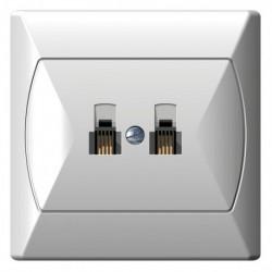 AKCENT Gniazdo telefoniczne, podwójne, równoległe, kolor biały GPT-2AR/00