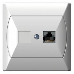 AKCENT Gniazdo komputerowe, pojedyncze, kat. 5e, MMC, kolor biały GPK-1A/K/00