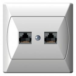 AKCENT Gniazdo komputerowe, podwójne, kat. 5e, FOREX, kolor biały GPK-2A/F/00