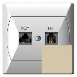 AKCENT Gniazdo komputerowo-telefoniczne, MMC, kolor beżowy GPKT-A/K/01