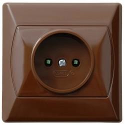 AKCENT Gniazdo pojedyncze, z przesłonami torów prądowych, kolor brązowy GP-1AP/24