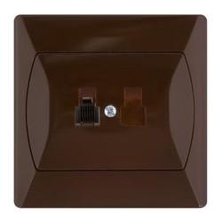 AKCENT Gniazdo telefoniczne, pojedyncze, kolor brązowy GPT-1A/24