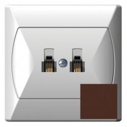 AKCENT Gniazdo telefoniczne, podwójne, równoległe, kolor brązowy GPT-2AR/24