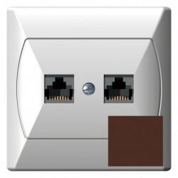 AKCENT Gniazdo komputerowe, podwójne, kat. 5e, FOREX, kolor brązowy GPK-2A/F/24