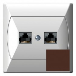 AKCENT Gniazdo komputerowe, podwójne, kat. 5e, MMC, kolor brązowy GPK-2A/K/24