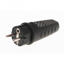 Wtyczka gumowa IP-44 z uziemieniem czarna