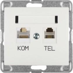 SIGMA Gniazdo komputerowo RJ45 - telefoniczne RJ11 bez ramki, kolor biały GPKT-1D/M.BI