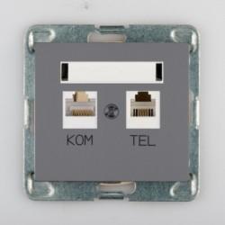 SIGMA Gniazdo komputerowo RJ45 - telefoniczne RJ11 bez ramki, kolor grafit mat GPKT-1D/M.GR