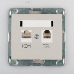 SIGMA Gniazdo komputerowo RJ45 - telefoniczne RJ11 bez ramki, kolor beżowy GPKT-1D/M.JB