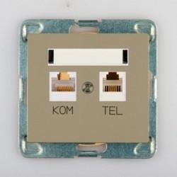 SIGMA Gniazdo komputerowo RJ45 - telefoniczne RJ11 bez ramki, kolor satyna GPKT-1D/M.ST