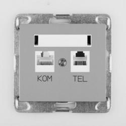 SIGMA Gniazdo komputerowo RJ45 - telefoniczne RJ11 bez ramki, kolor srebrny GPKT-1D/M.SR