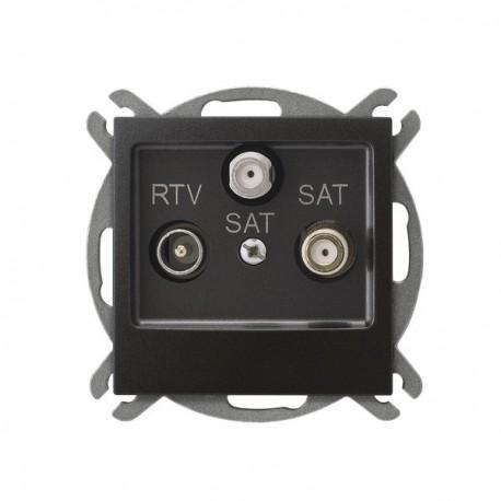 IMPRESJA Gniazdo RTV-SAT, z dwoma wyjściami SAT, bez ramki, kolor antracyt GPA-Y2S/m/50