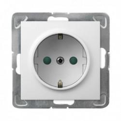 IMPRESJA Gniazdo pojedyncze z uziemieniem schuko, z przesłonami torów prądowych, bez ramki, kolor biały GP-1YSP/m/00
