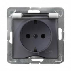 IMPRESJA Gniazdo pojedyncze z uziemieniem schuko, IP-44, wieczko przezroczyste, bez ramki, kolor biały GPH-1YS/m/00/d