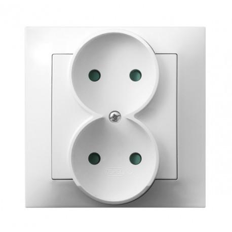 IMPRESJA Gniazdo podwójne, z przesłonami torów prądowych, kolor biały GP-2YP/00 (sprzedawane w całości)