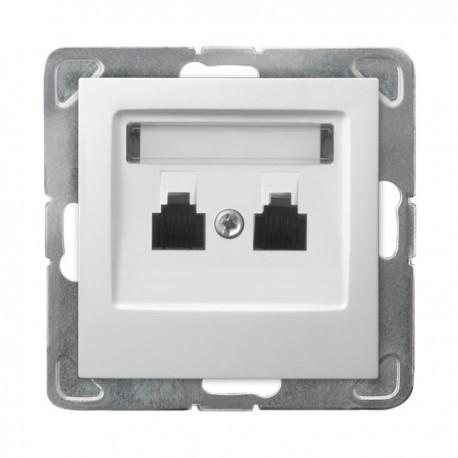 IMPRESJA Gniazdo telefoniczne, podwójne, niezależne, bez ramki, kolor biały GPT-2YN/m/00