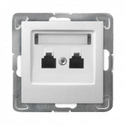 IMPRESJA Gniazdo telefoniczne, podwójne, równoległe, bez ramki, kolor biały GPT-2YR/m/00