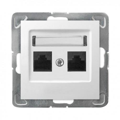 IMPRESJA Gniazdo komputerowe, podwójne, kat. 5e, MMC, bez ramki, kolor biały GPK-2Y/K/m/00