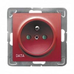 IMPRESJA Gniazdo pojedyncze z uziemieniem DATA, z przesłonami torów prądowych, bez ramki, czerwony GP-1YZDP/m/00