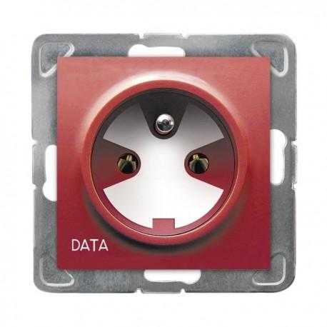 IMPRESJA Gniazdo pojedyncze z uziemieniem DATA, z kluczem uprawniającym, bez ramki, czerwony GP-1YZK/m/00