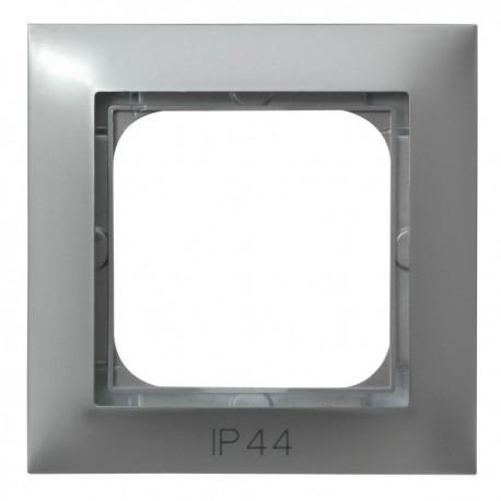 IMPRESJA Ramka pojedyncza do IMPRESJA Łączników IP44, srebro RH-1Y/18