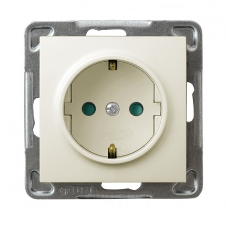 IMPRESJA Gniazdo pojedyncze z uziemieniem schuko, z przesłonami torów prądowych, bez ramki, kolor ecru GP-1YSP/m/27