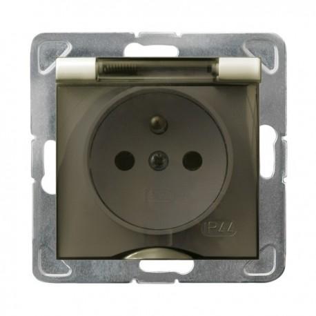 IMPRESJA Gniazdo pojedyncze z uziemieniem, IP-44, wieczko przezroczyste, bez ramki, kolor ecru GPH-1YZ/m/27/d
