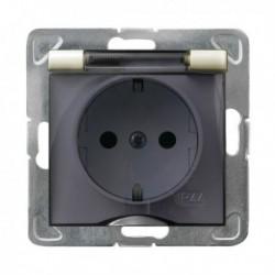 IMPRESJA Gniazdo pojedyncze z uziemieniem schuko, IP-44, wieczko przezroczyste, bez ramki, kolor ecru GPH-1YS/m/27/d