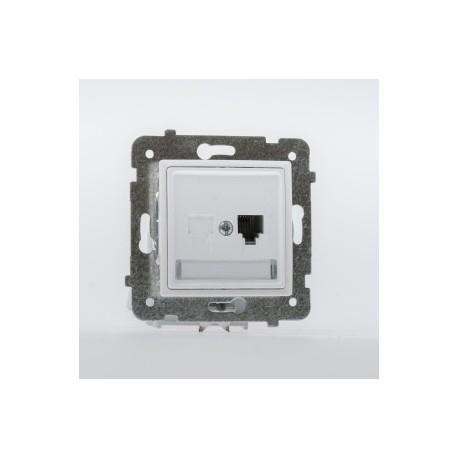 ROSA Gniazdo telefoniczne RJ11 pojedyncze bez ramki, kolor biały GPT-1Q/M.BI