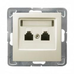 IMPRESJA Gniazdo telefoniczne, podwójne, niezależne, bez ramki, kolor ecru GPT-2YN/m/27