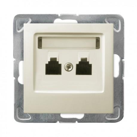 IMPRESJA Gniazdo telefoniczne, podwójne, równoległe, bez ramki, kolor ecru GPT-2YR/m/27