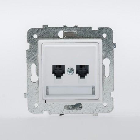 ROSA Gniazdo telefoniczne RJ11 podwójne niezależne bez ramki, kolor biały GPT-2QN/M.BI
