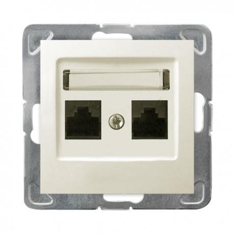 IMPRESJA Gniazdo komputerowe, podwójne, kat. 5e, MMC, bez ramki, kolor ecru GPK-2Y/K/m/27