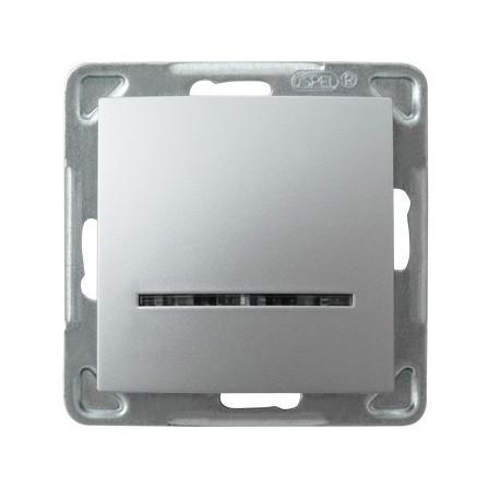 IMPRESJA Łącznik kontrolny, z podświetleniem, bez ramki, kolor srebro ŁP-12YS/m/18