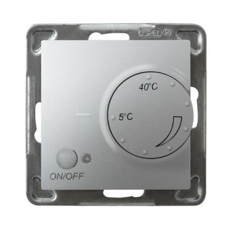 IMPRESJA Regulator temperatury, bez ramki, kolor srebro z czujnikiem napowietrznym RTP-1YN/m/18