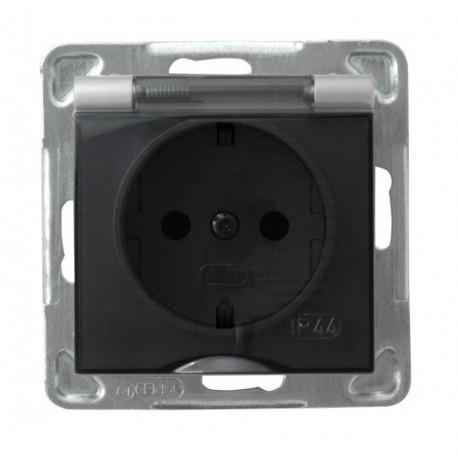 IMPRESJA Gniazdo pojedyncze z uziemieniem schuko, IP-44, wieczko przezroczyste, bez ramki, kolor srebro GPH-1YS/m/18/d