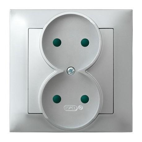 IMPRESJA Gniazdo podwójne, z przesłonami torów prądowych, kolor srebro GP-2YP/18 (sprzedawane w całości)