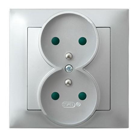 IMPRESJA Gniazdo podwójne z uziemieniem, z przesłonami torów prądowych, kolor srebro GP-2YZP/18 (sprzedawane w całości)