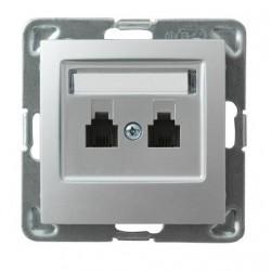 IMPRESJA Gniazdo telefoniczne, podwójne, niezależne, bez ramki, kolor srebro GPT-2YN/m/18