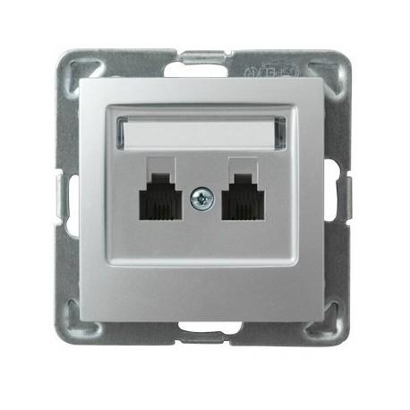 IMPRESJA Gniazdo telefoniczne, podwójne, równoległe, bez ramki, kolor srebro GPT-2YR/m/18
