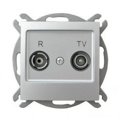 IMPRESJA Gniazdo RTV, przelotowe, ZAP-10, bez ramki, kolor srebro GPA-10YP/m/18