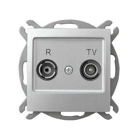 IMPRESJA Gniazdo RTV, przelotowe, ZAP-16, bez ramki, kolor srebro GPA-16YP/m/18