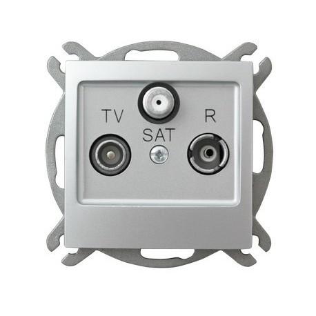 IMPRESJA Gniazdo RTV-SAT, końcowe, bez ramki, kolor srebro GPA-YS/m/18