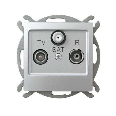 IMPRESJA Gniazdo RTV-SAT, przelotowe, bez ramki, kolor srebro GPA-YSP/m/18