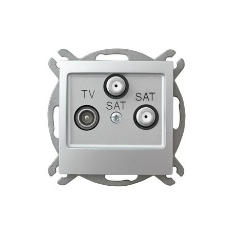 IMPRESJA Gniazdo RTV-SAT, z dwoma wyjściami SAT, bez ramki, kolor srebro GPA-Y2S/m/18