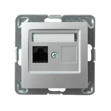 IMPRESJA Gniazdo komputerowe, pojedyncze, kat. 5e, MMC, bez ramki, kolor srebro GPK-1Y/K/m/18