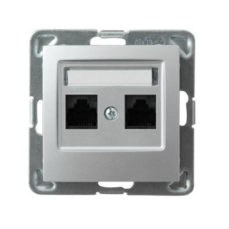 IMPRESJA Gniazdo komputerowe, podwójne, kat. 5e, MMC, bez ramki, kolor srebro GPK-2Y/K/m/18