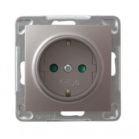 IMPRESJA Gniazdo pojedyncze z uziemieniem schuko, z przesłonami torów prądowych, bez ramki, kolor tytan GP-1YSP/m/23